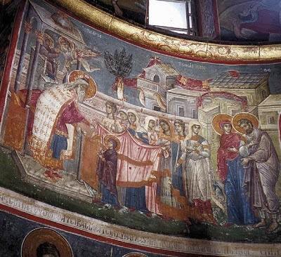Fresco of the Entrance of the Theotokos (Hilandari Monastery, Mount Athos)