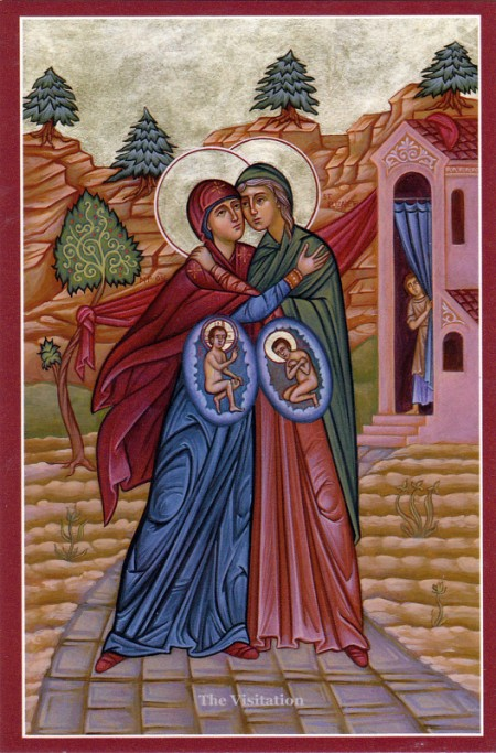 Icon of the Meeting of the Virgin Mary and Elizabeth (LK 1:39-56), with Jesus and John the Baptist alive and aware in their wombs.