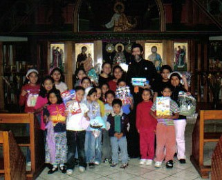 Fr Steven with the children at the Hogar, 2006.
