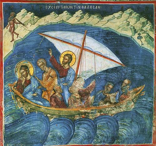 Christ wakes from sleep, stills the raging storm