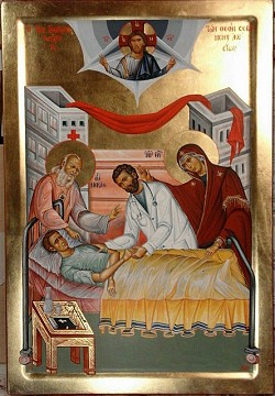 Icon of the Theotokos and St Luke the Surgeon of Crimea assisting a physician