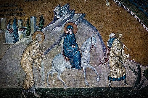 The Journey to Bethlehem (Mosaic, Chora, early 14th c.)