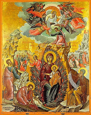 Icon of The Theotokos, 'The Burning Bush'