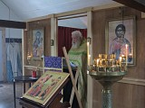 Fr Ambrose serving in the little chapel.
