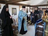 Abbess Theadelphi, Fr Ambrose, and pilgrims